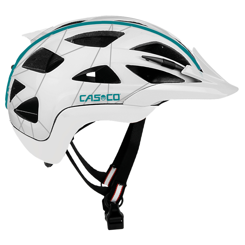 Seitenansicht CASCO Helm für Frauen in weiß blau